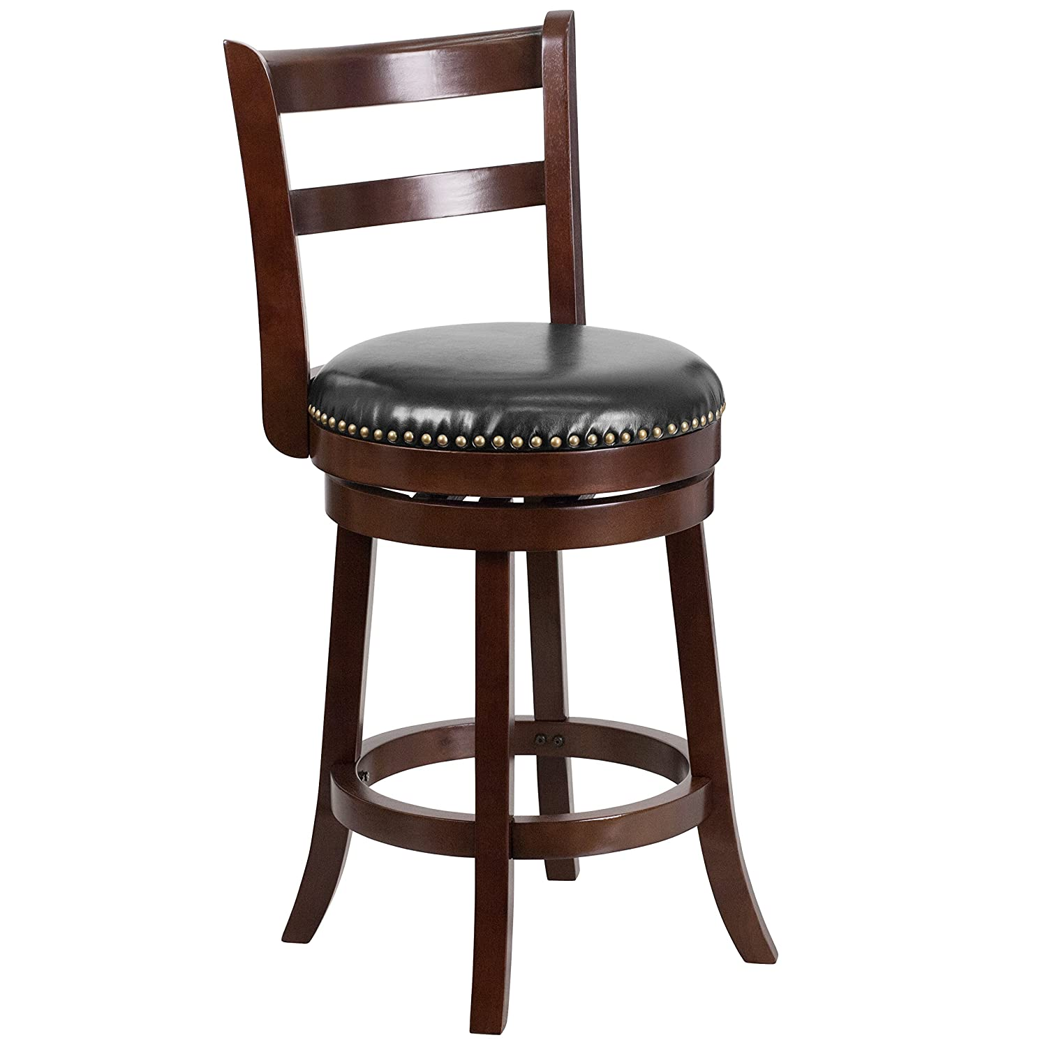 Flash Furniture 26'' High Cappuccino Wood Counter Height Stool with Single Slat Ladder Back and Black Leather Swivel Seat