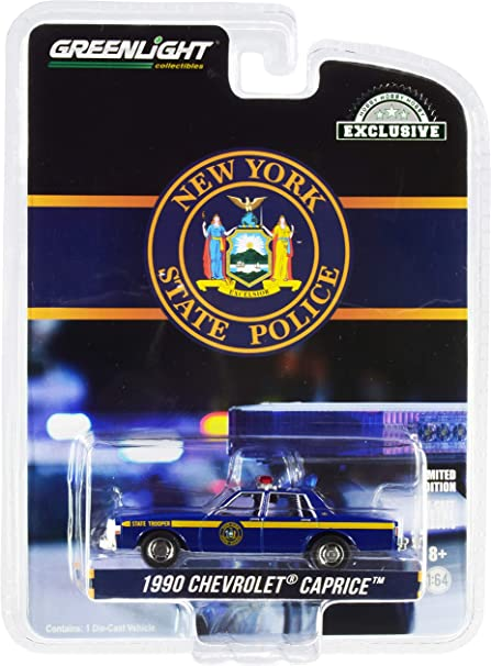 1990 Caprice New York State Police Blue with Yellow Stripes Hobby Exclusive 1/64 Diecast Model Car by Greenlight 30180