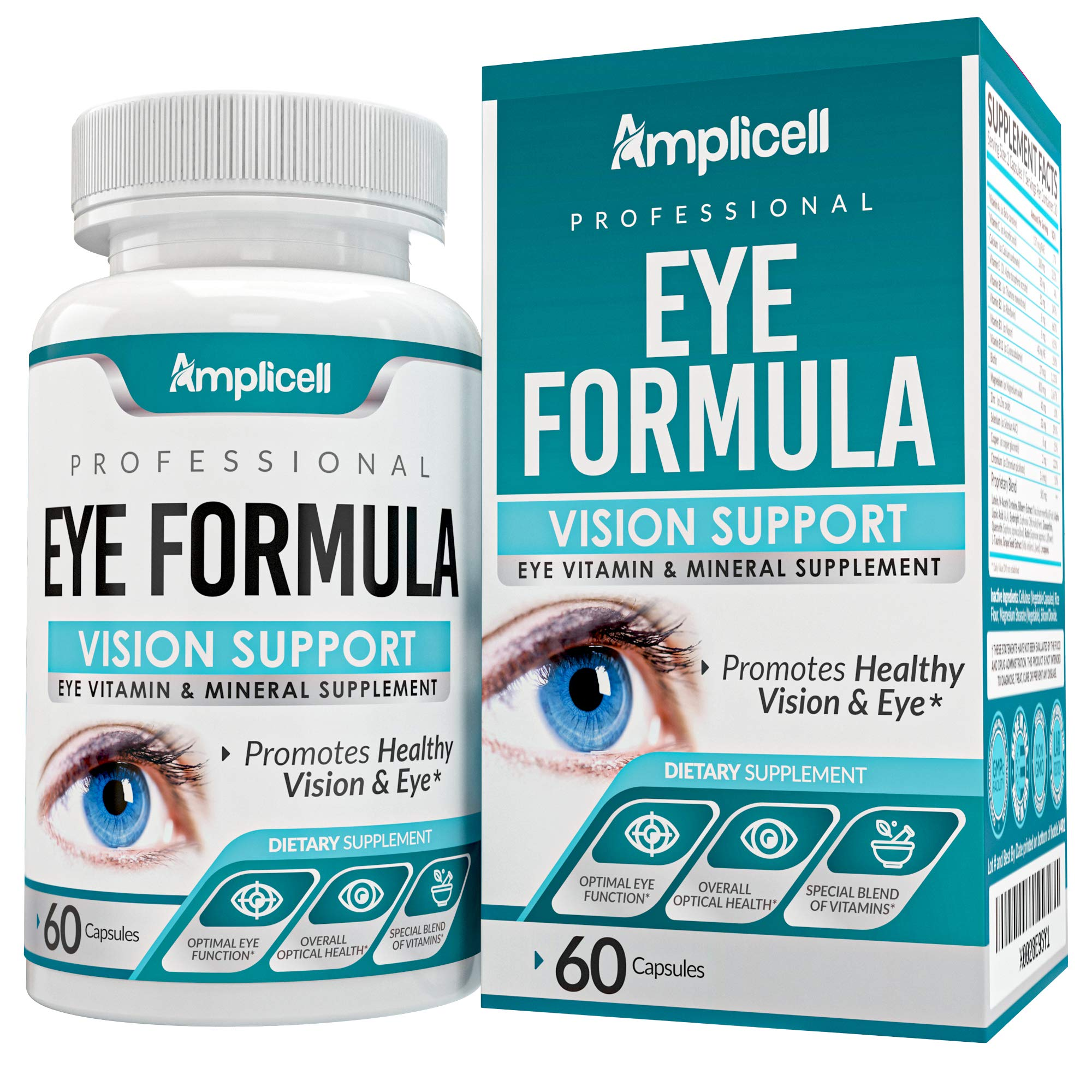 Eye Formula Vision Support - 60 Eye Vitamin Capsules - Daily Eye Vitamins with Lutein & Zeaxanthin - All-in-One Eye Health Supplement w/ Vitamin A, Vitamin E, Zinc, Calcium & More for Optimum Eye Care