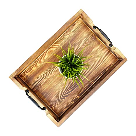 Super Decore Wooden Serving Tray With Handles 20 X 14 X 3 Inch Rustic Torched Barnwood With Modern Metal Handles To Use As Ottoman Tray Coffee Table Inzonedesignstudio Interior Chair Design Inzonedesignstudiocom