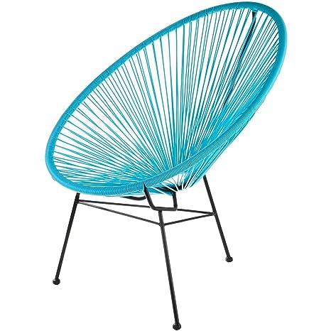La Chaise Longue Poltrona Acapulco Blu Turchese Acciaio E Corda Plastica Interno Esterno 32
