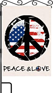 "Peace & Love Garden Flag American Flag with Peace Sign Burlap Garden Flag Double Sided Fall Winter Flag 12.5""x18"" for Patio Lawn Outdoor Home Garden Decor"