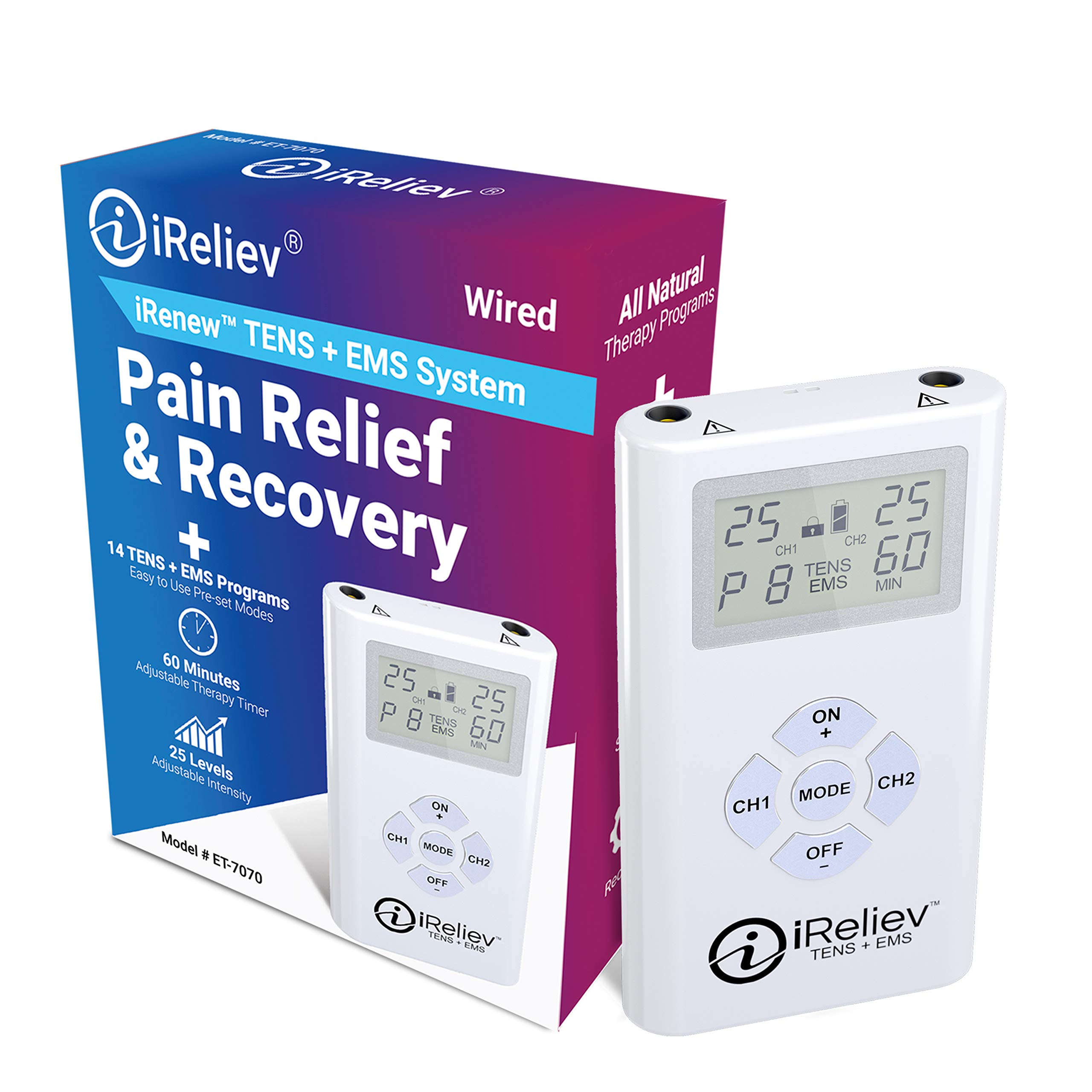 iReliev TENS + EMS Combination Unit Muscle Stimulator for Pain Relief & Arthritis & Muscle Strength - Treats Tired and Sore Muscles in Your Shoulders, Back, Ab's, Legs, Knee's and More by iReliev