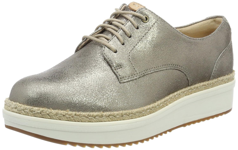 Clarks Teadale Rhea, Zapatos de Cordones Brogue para Mujer 38 EU|Beige (Pewter Suede)