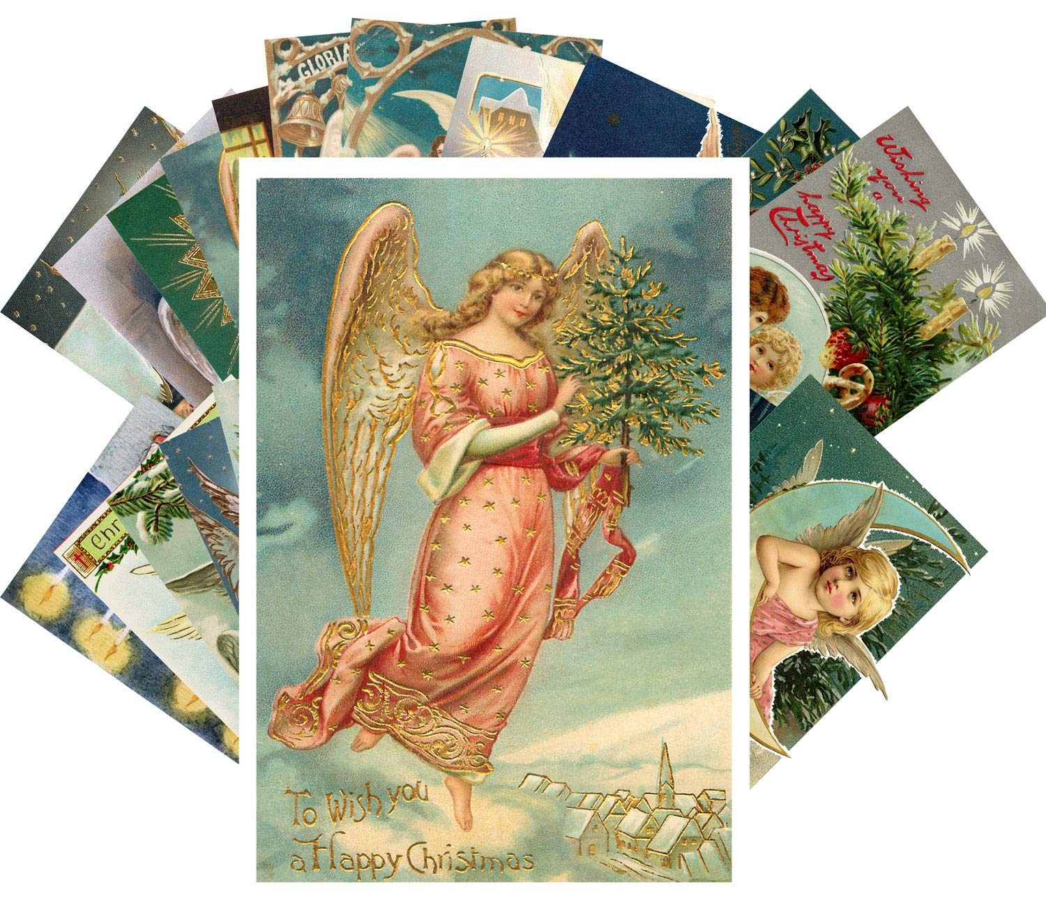 Amazon.com: Vintage Christmas Greeting Cards 24pcs Jesus Born This Day  Antique Angels Reprint Postcard Set: Health & Personal Care
