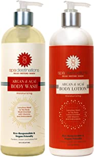 Spa Destinations DUO 16 ounce - Argan & Acai Body Wash and Argan & Acai Body Lotion