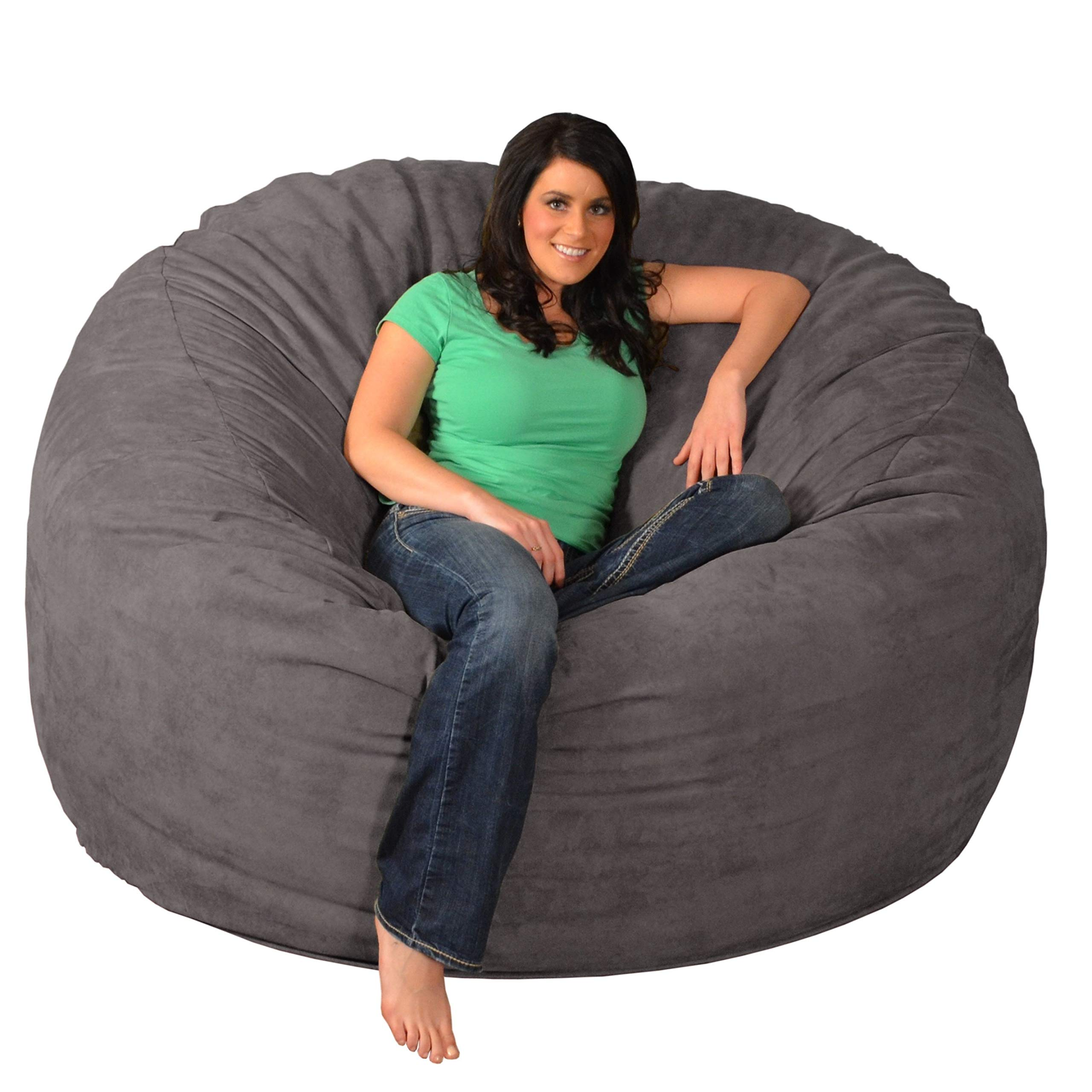 Theater Sacks Giant Memory Foam Bean Bag 6-Foot Chair Charcoal