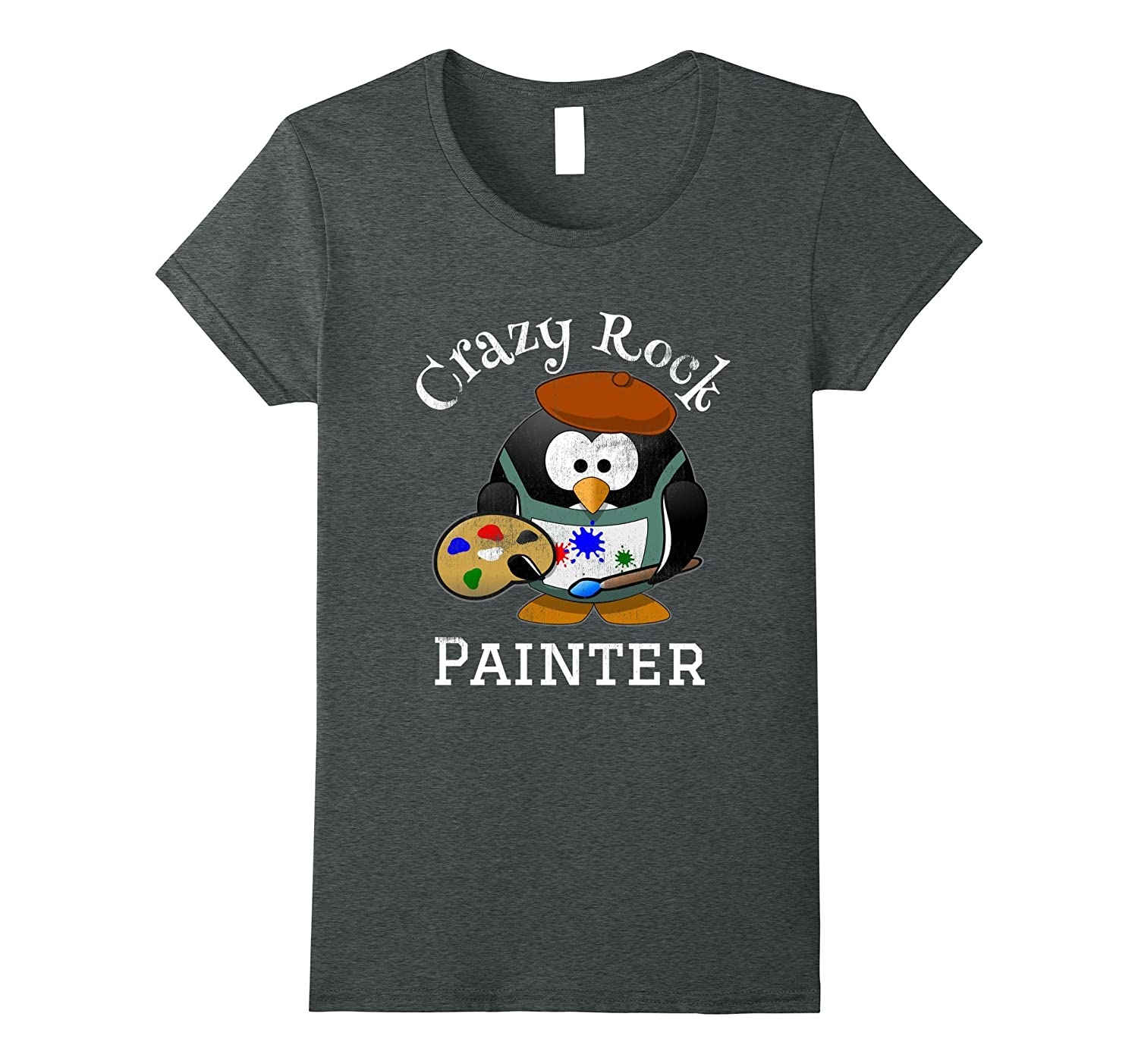 painter penguin Rock Painting womens-Veotee