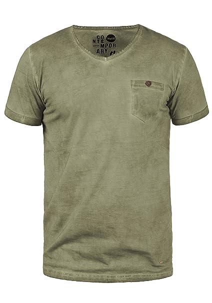 !Solid Teil Camiseta Básica De Manga Corta T-Shirt para Hombre con Cuello Redondo De 100% Algodón FkkmRk