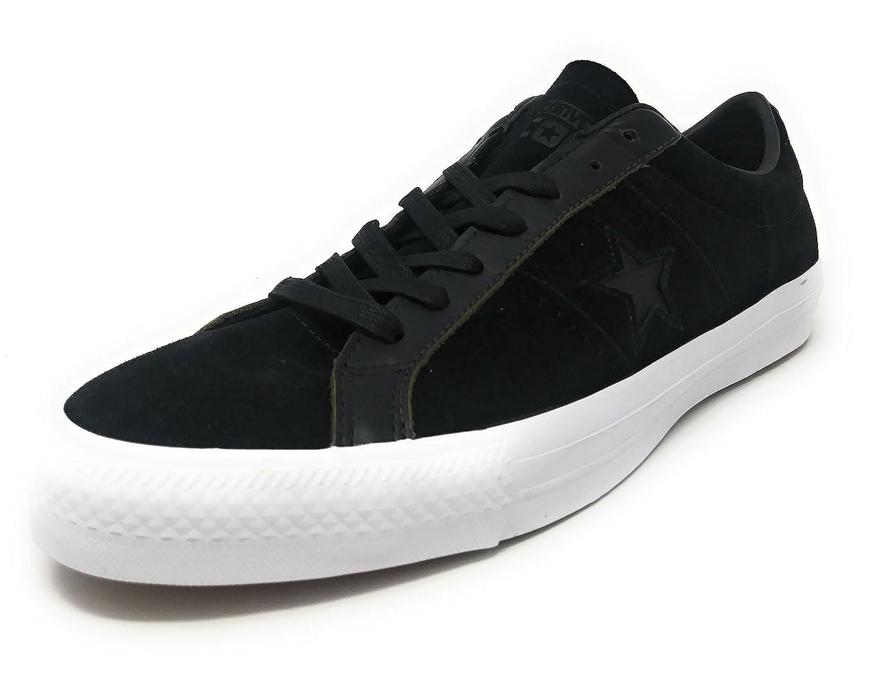 Converse One Star Pro Ox Rub Off Leather Black White Black Men s Skate Shoes e2f942360