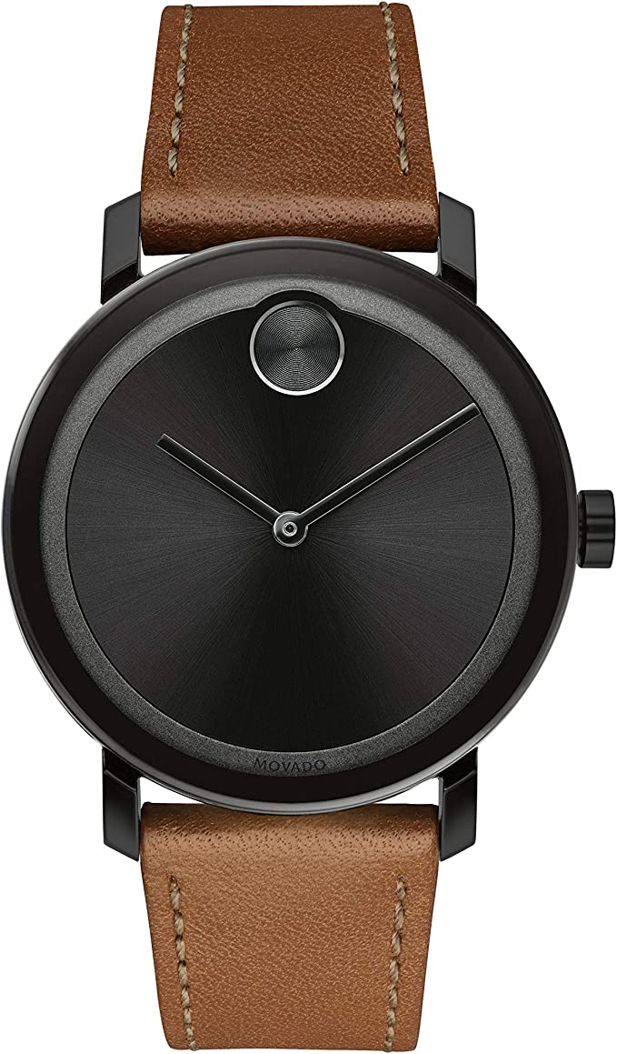 Movado Bold Cognac Leather Strap Ionic Plated Black Steel Case Black Dial