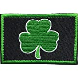 """SpaceAuto Saint Patrick's Day Shamrock Clover Tactical Morale Embroidery Hook & Loop Patch 3"""" x 1.97"""" - Black & Green"""