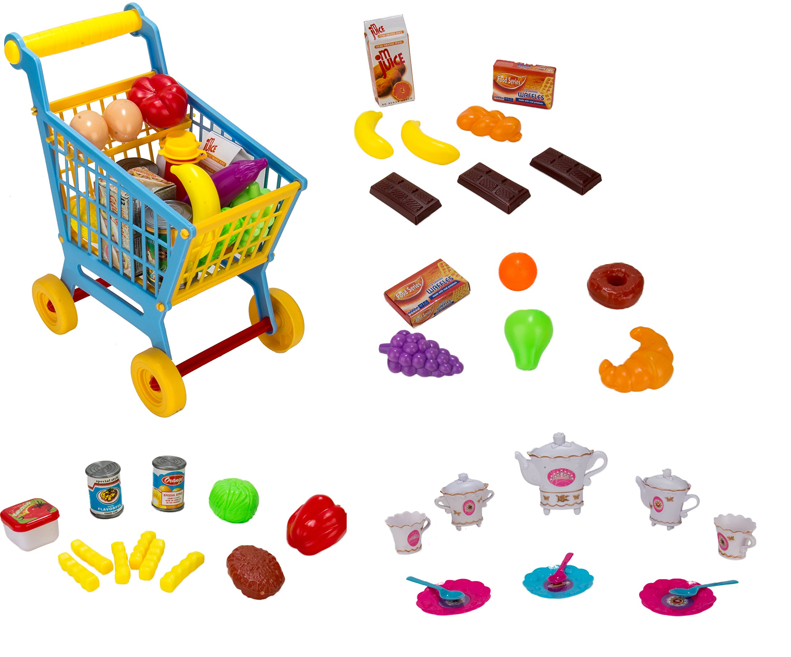 Colorful Pretend Play 4 in 1 Kid Shopping Cart and Grocery and Assorted Desert and Fast Food and Lunch Break Princess Tea Set Gift