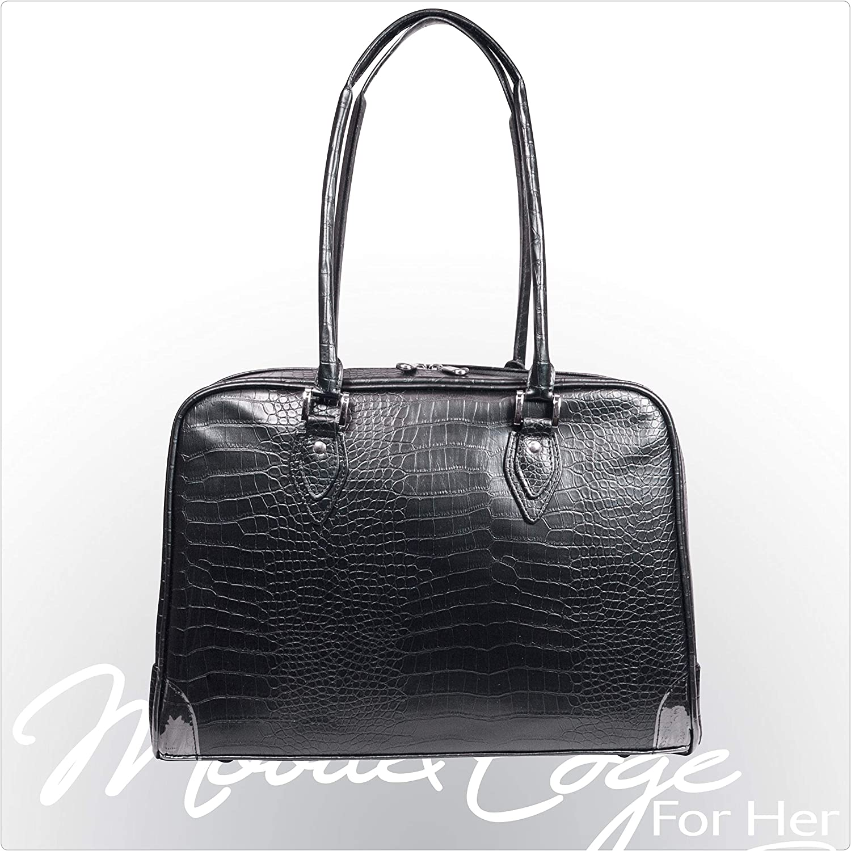 Mobile Edge Women's Milano 17 Inch Business Laptop Handbag Faux Croc, Soft Poly-Suede Lining Protection, Black MEMC1L