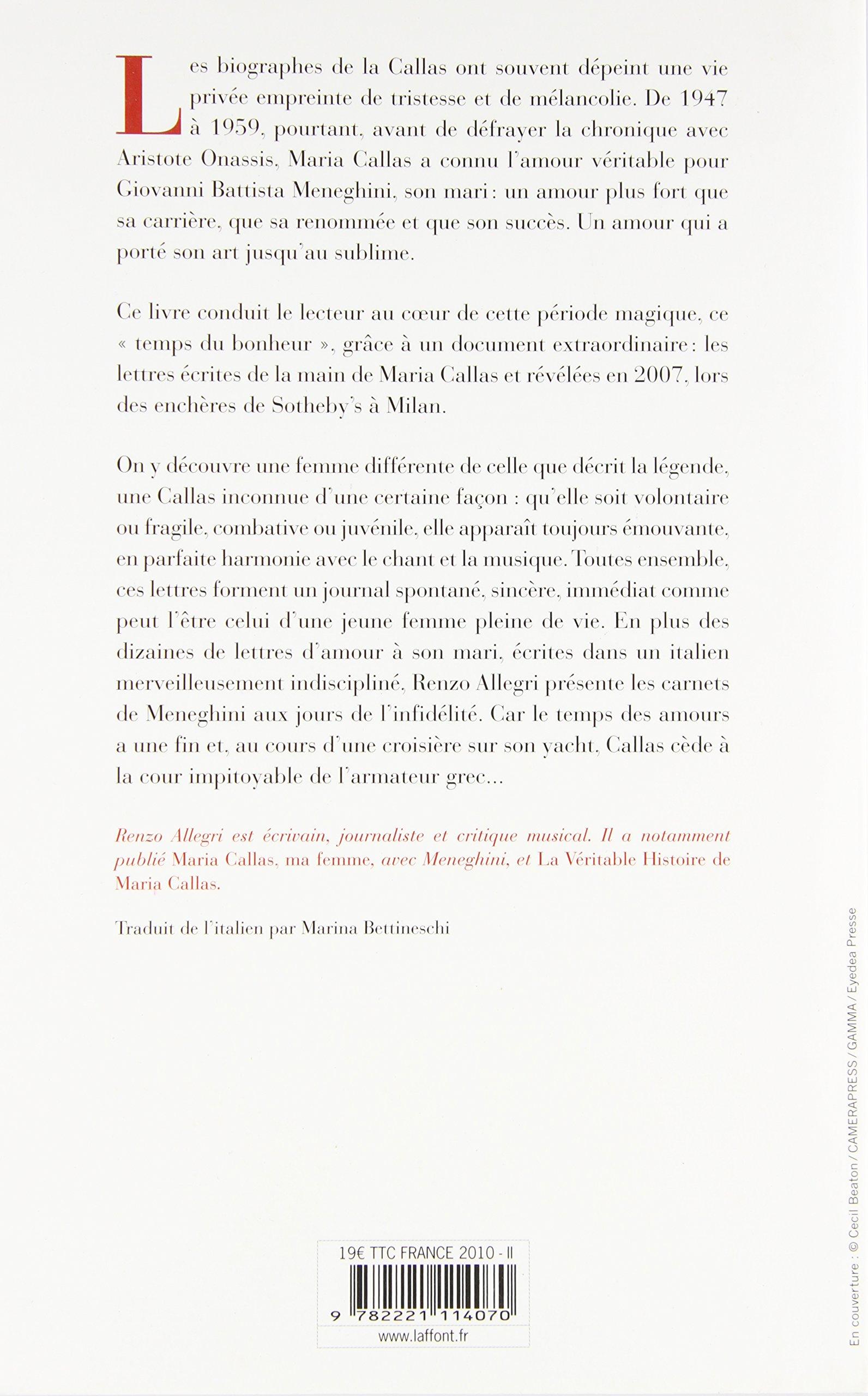 Maria Callas Lettres Damour Amazones Renzo Allegri