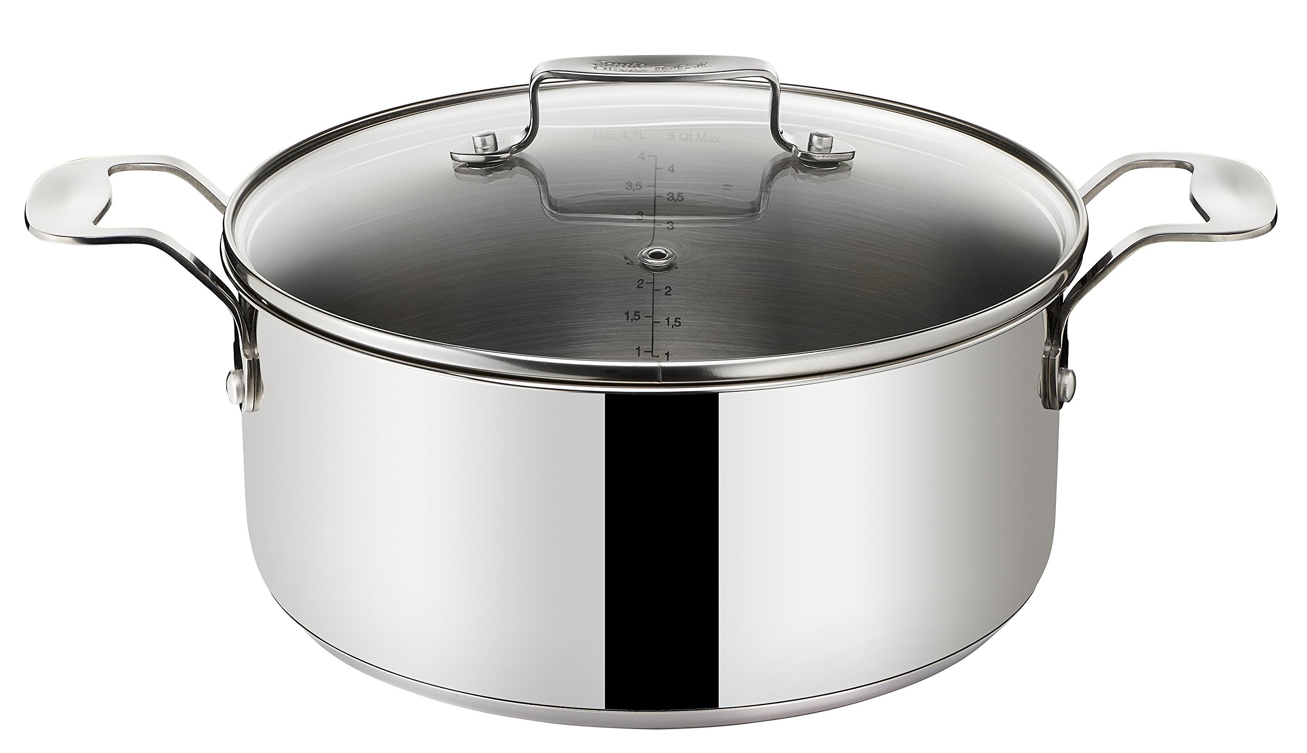 tefal jamie oliver stainless steel casserole pot with glass lid diameter 20cm ebay. Black Bedroom Furniture Sets. Home Design Ideas