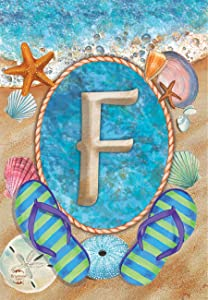 """Briarwood Lane Summer Monogram Letter F Garden Flag Flip Flops Seashells 12.5"""" x 18"""""""