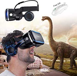 VR Glass Virtual Reality Headset w/Remote & Headphone for iPhone 11 Pro XS XR X 8 7 6 S +, Samsung Galaxy S10 E S9 S8 S7 S6 Edge, 3D VR Goggle for 3D Movie & Game for iOS & Android Smartphone, Black