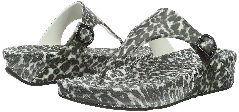 FitFlop Damen Superjelly Leopard, Damen FitFlop Sandalen Mehrfarbig (schwarz/Weiß) 86a57a