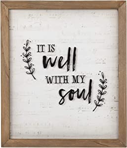 Christian at Gifts Wall Art Home Décor | It is Well with My Soul Inspirational Glass Wall Plaque | Rustic, 12 x 14 Inches