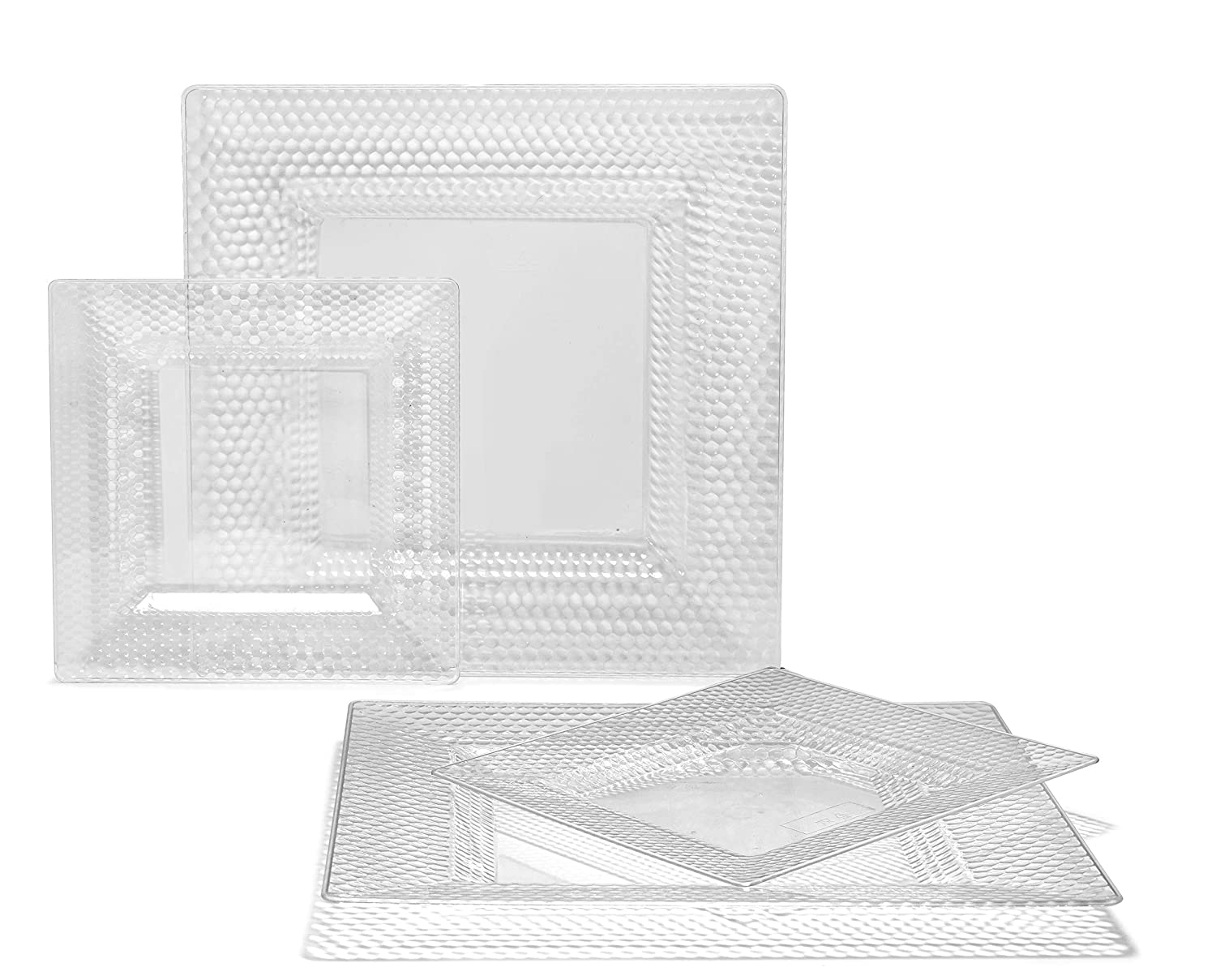 B. Vitro in Clear 50 Piece (25 Guest) OCCASIONS 720 PCS   120 GUEST Wedding Disposable Plastic Plate and Silverware Combo Set (Diamond White Silver Plates, Silver Silverware)