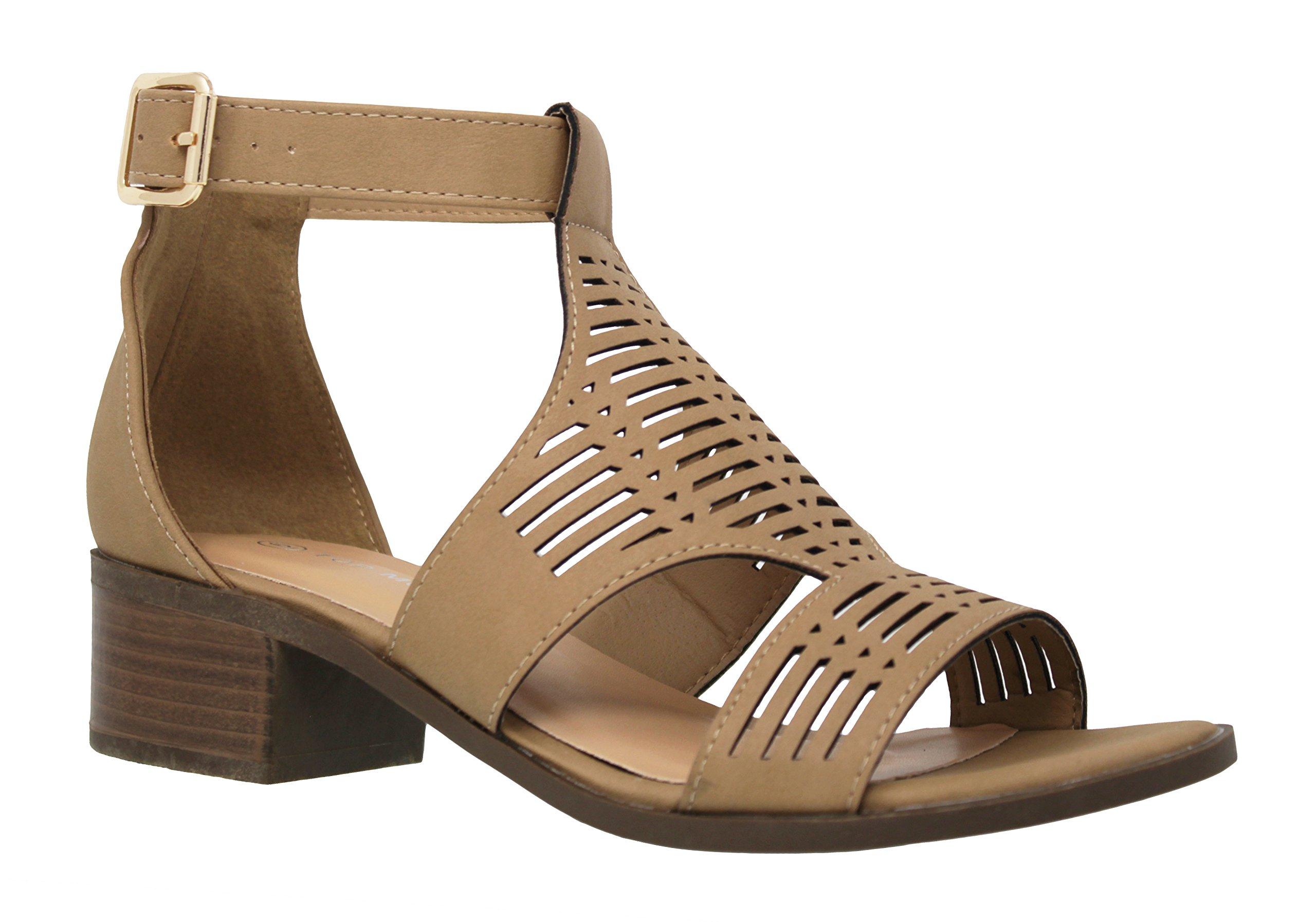 MVE Shoes Women's Cut Out Buckle Laser Decoration Open Toe, Tan Size 8