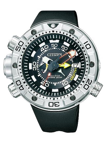 Citizen Promaster Marine - Eco-Drive Aqualand - Reloj de cuarzo para hombre, con correa de goma, color negro: Amazon.es: Relojes