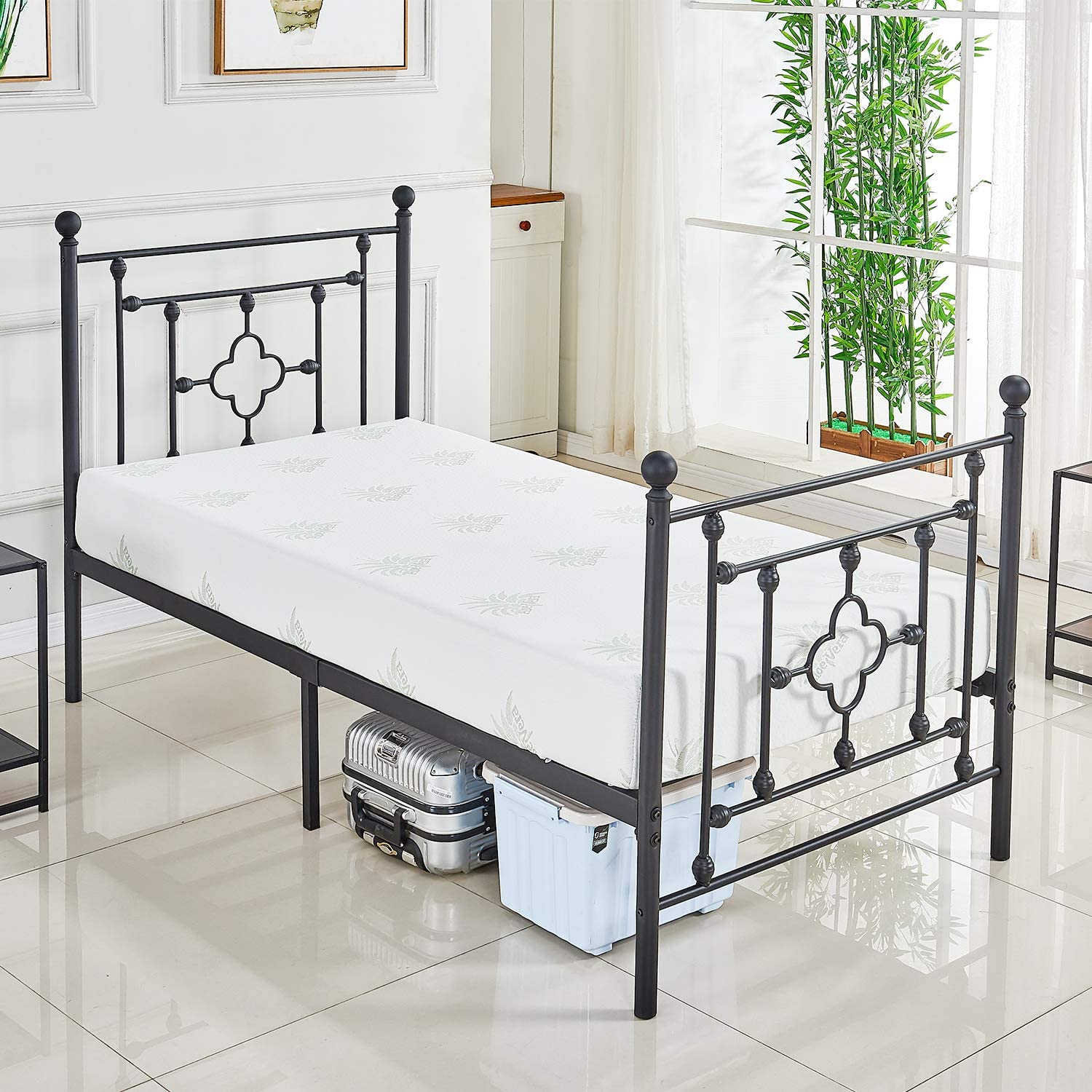 DIKAPA Twin Size Bed Frame with Metal Headboard and Footboard Mattress Foundation Box Spring Replacement Sturdy Heavy Duty Slats,Victorian Vintage Style Platform