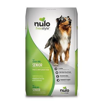 Senior Dog Food >> Nulo Senior Grain Free Dog Food With Glucosamine And Chondroitin Trout And Sweet Potato Recipe 4 5 11 Or 24 Lb Bag