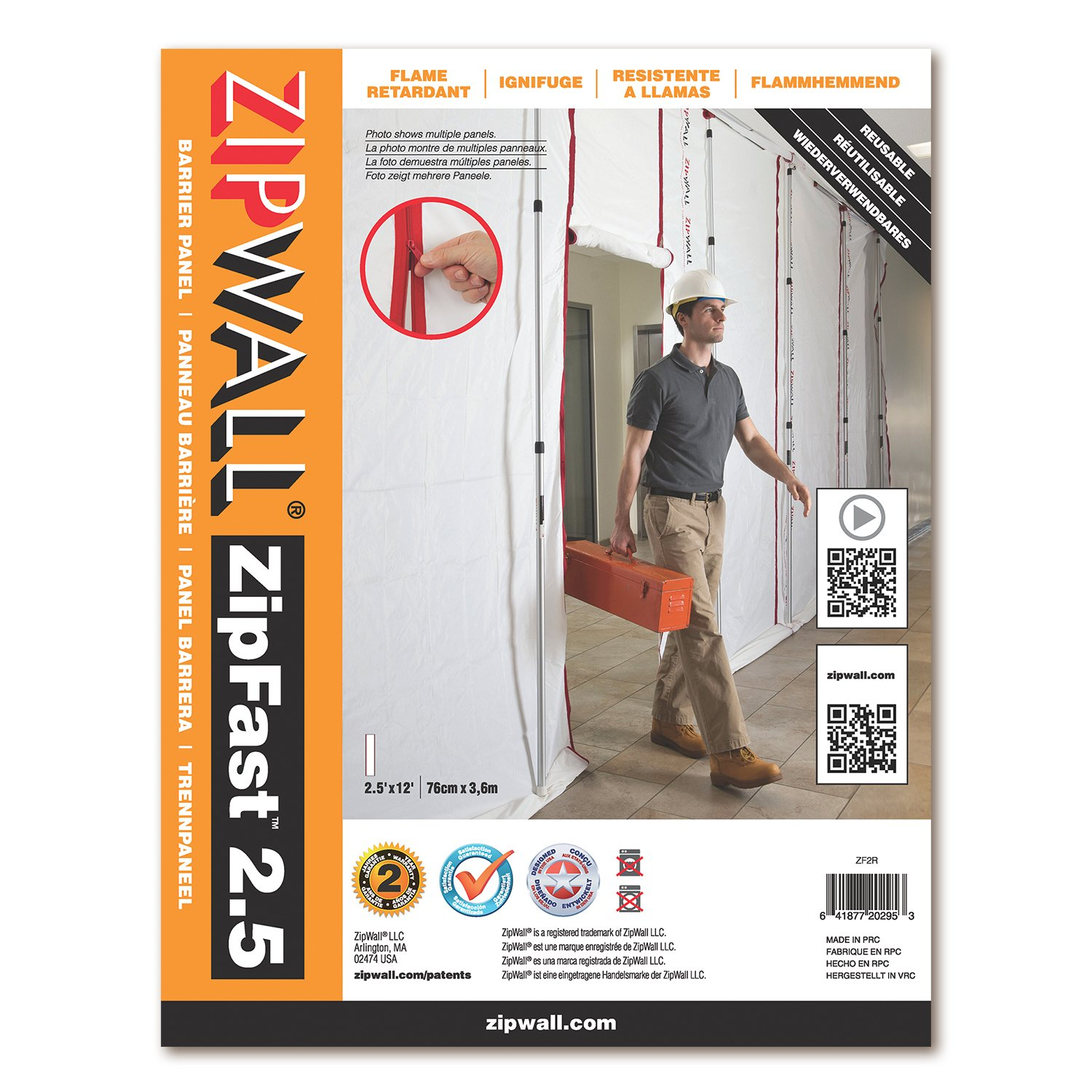 Amazon.com: ZipWall ZipFast Reusable Barrier 2.5 Panel, Flame Retardant for Dust Barriers, ZF2R: Home Improvement