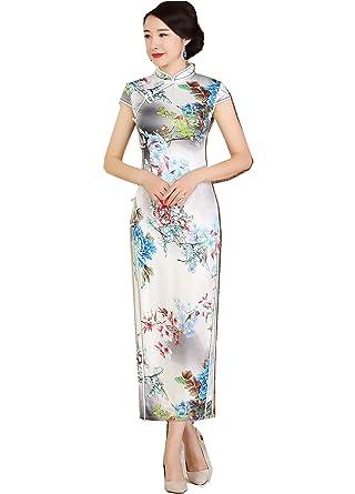 385e723f5d1 Amazon.com  Shanghai Story Faux Silk Floral Cheongsam Short Sleeve Long  Qipao 3XL 3624  Clothing