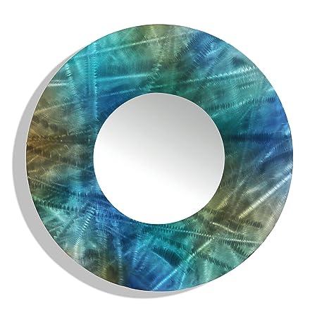 Statements2000 Round Decorative Metal Wall-Mounted Mirror Jon Allen, Blue Teal Brown, 23 Inch – Mirror 103