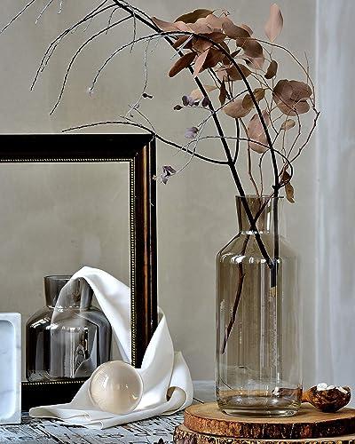 cyl home Vases Bottle Shape Optic Bronze Color Glass Flower Arrangement Table Centerpieces Modern Contemporary Dining Living Room Art Decor Accent Gift Vase 13.8 H x 4.7 D