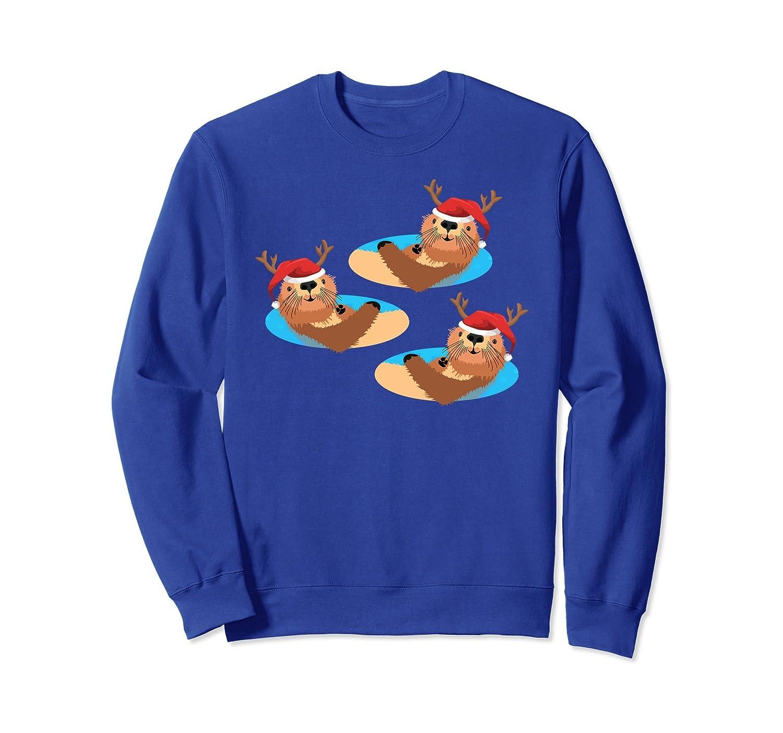 Xmas Otter Sweatshirt, Fun Sea Reindeer Christmas Apparel-ln