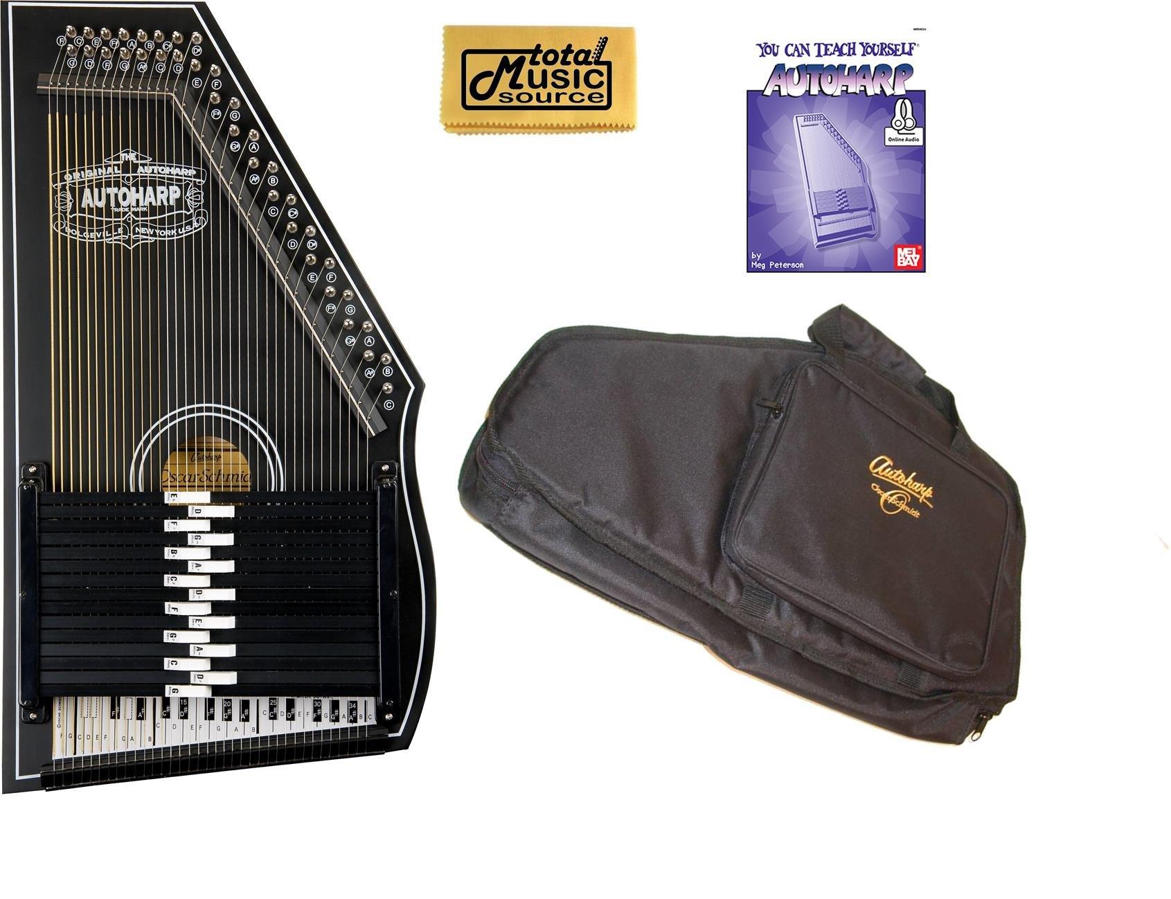 Oscar Schmidt 1930's Reissue 15 Chord Autoharp, Original Design, Black, OS73B Bundle, OS73B AC445PACK