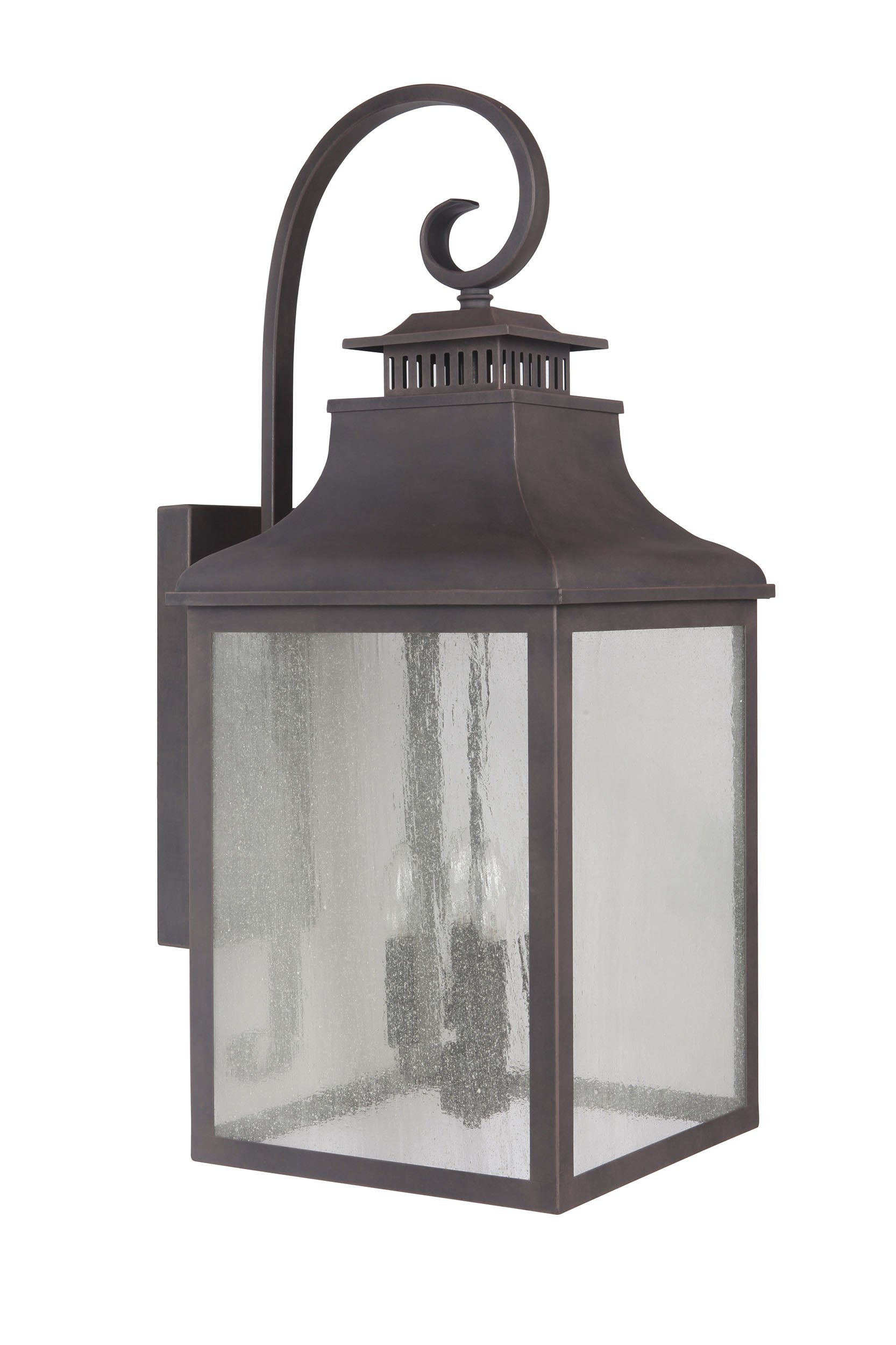 Y Decor EL2285RT Modern, Transitional, Traditional 3 Light Rustic Bronze Exterior Outdoor Light Fixture with Clear Seedy Large Glass By Y Décor, , Brown