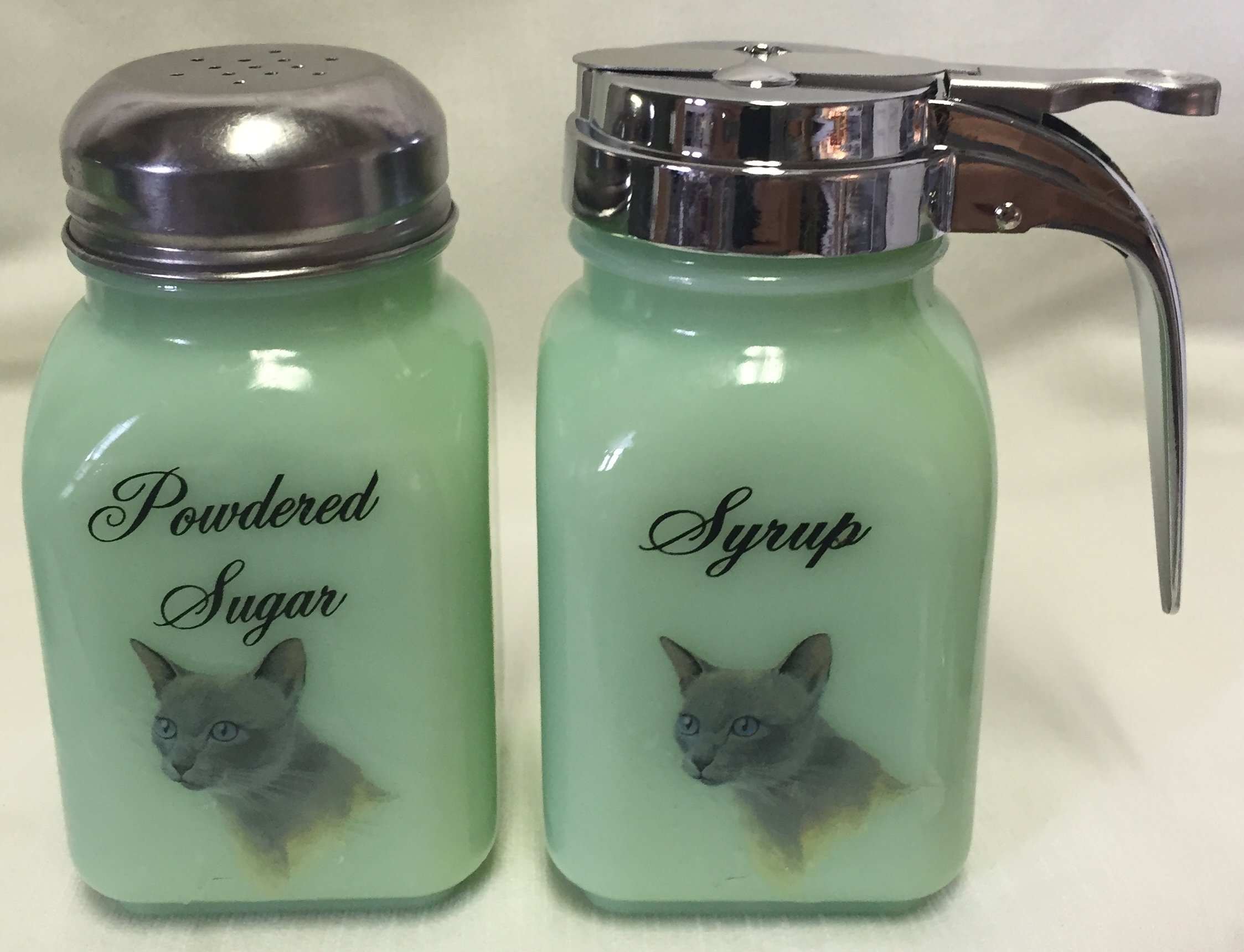 Breakfast Set - Syrup and Powdered Sugar - Cats - Glass - American Made (Tonkinois Bleu, Jade) by Rosso Glass