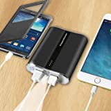 Power Master Portable Power Bank 12,000 mAh Dual USB Charging Ports Power Indicator With LED Flashlight And Charge Protection (Grey)