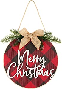 Jetec Merry Christmas Decorations Wreath Christmas Hanging Sign Rustic Burlap Wooden Holiday Decor for Christmas Home Window Wall Farmhouse Indoor Outdoor Decorations (Red and Black)