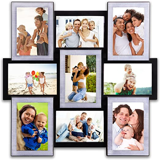 Photo Frame Vertical Fall Picture Frame Gallery Collage Wall Hanging Frame Set 12 by 23 inch for 4 x 6 inch Photo 8 Sockets Black Edge Gift Decor Hello Laura