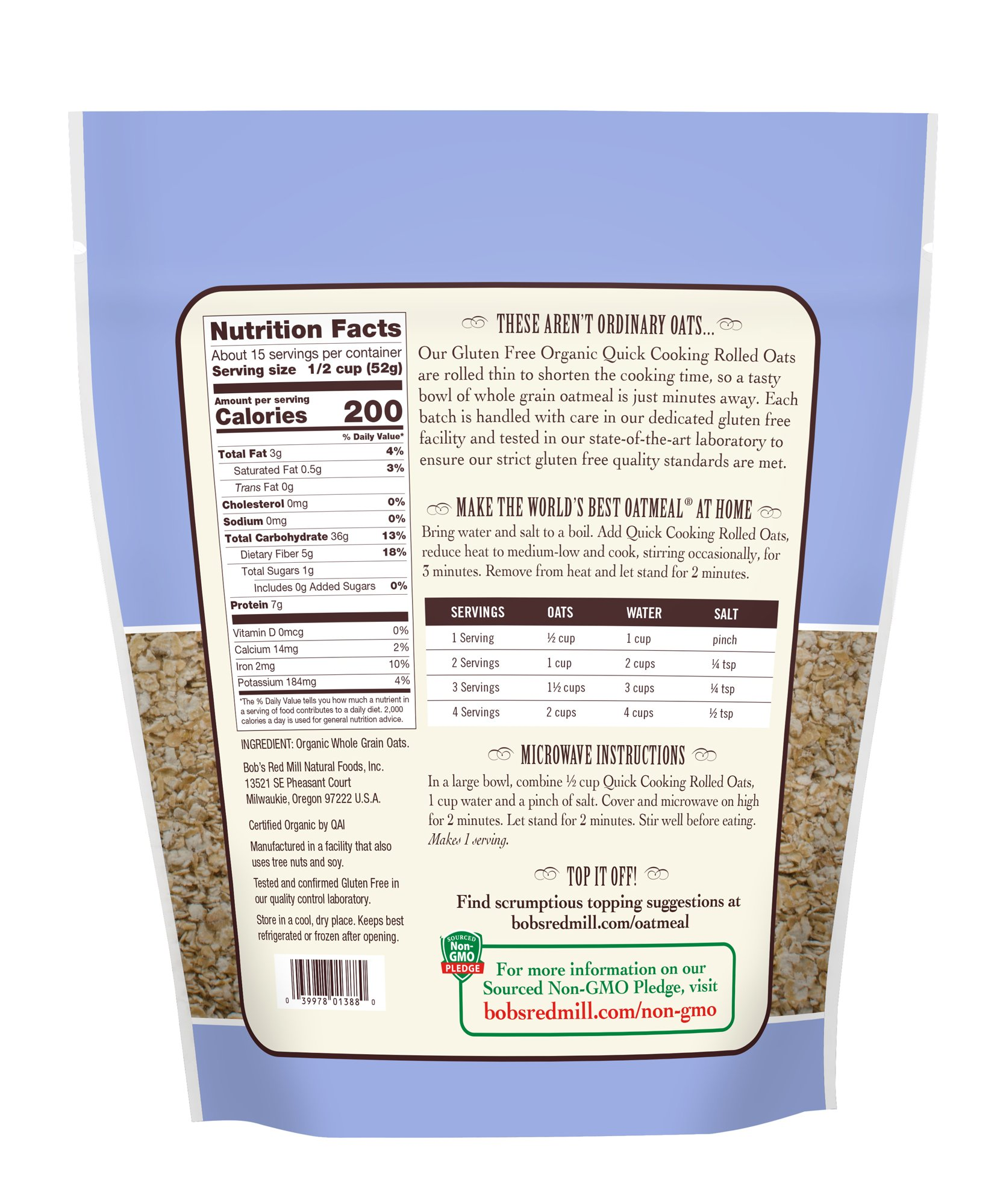 Bob's Red Mill (Resealable) Gluten Free Organic Quick Cooking Oats, 28-ounce (Pack of 4) by Bob's Red Mill (Image #3)