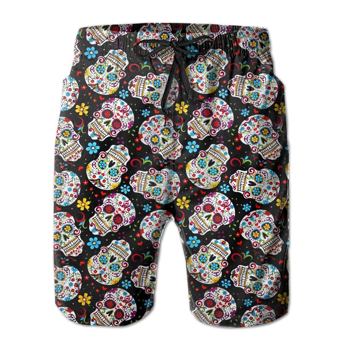 Sugar Skulls Boardshorts Mens Swimtrunks Fashion Beach Shorts Casual Shorts Swim Trunks
