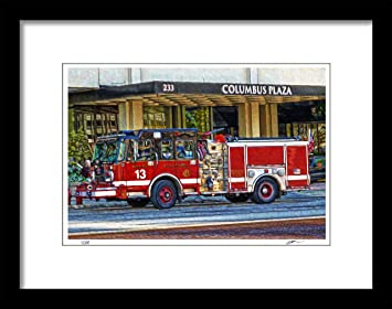 Amazon Com Chicago Fire Department Fire Truck Modern Wall Art Print