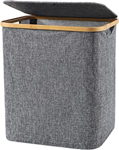 XULAN Laundry Basket with Lid, 60L Bamboo Dirty Clothes Hamper with Handle,Waterproof Foldable Waterproof Fabric Laundry Basket for Bedroom, Bathroom,Living Room (Grey)