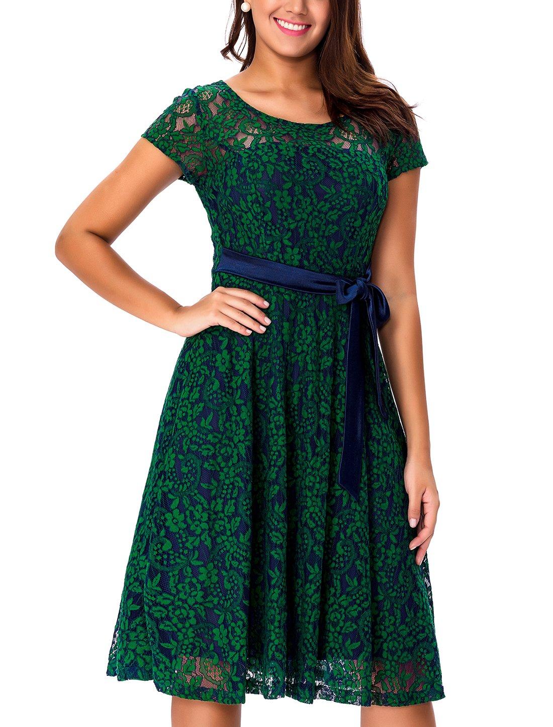 Noctflos Women Vintage Lace Short Sleeves Swing Garden Party Dress Emerald Green