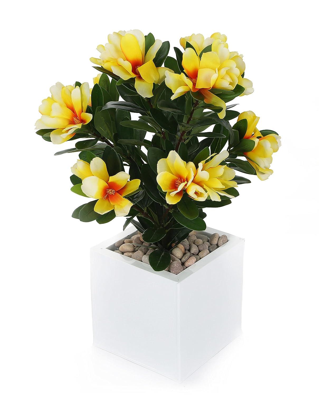 Closer 2 Nature Artificial Flower, Künstliche Zwerg Rhododendren Pflanze, 57 cm, gelb