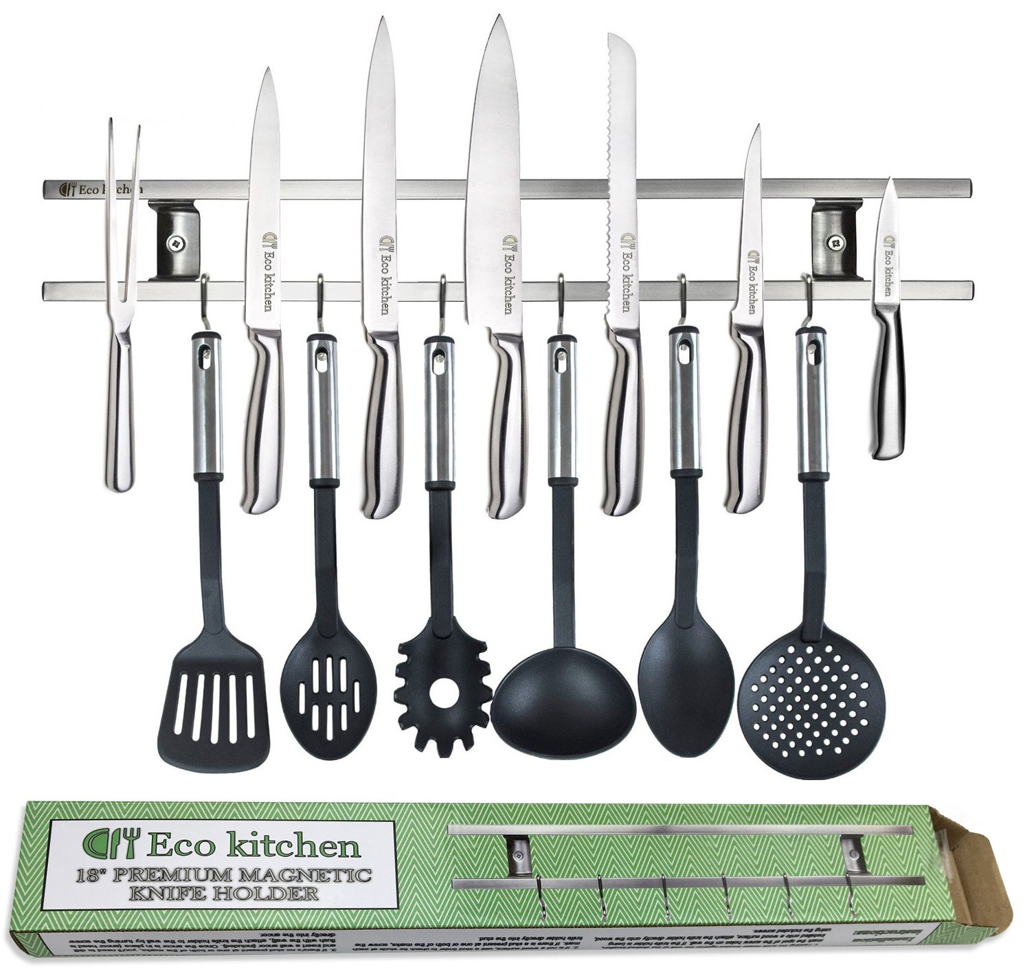 ECO KITCHEN 18 Inch Stainless Steel Magnetic Knife Holder - Magnetic Knife Strip with 6 Hooks - Knife Rack/Knife Bar for Kitchen Utensils and Cooking Sets - Save Your Space Now!