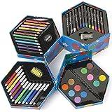 """Malset / Kindermalbox """"Dirty Harry"""" - Filzstifte, Wachsmaler, Buntstifte, Wasserfarben in sechseckiger Aufbewahrungsbox"""