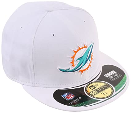 40ccbc4e61c NFL Miami Dolphins 59Fifty Official On Field Game Fitted Hat Cap White 6 7 8