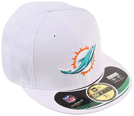 NFL Miami Dolphins 59Fifty Official On Field Game Fitted Hat Cap White 7 1 8 3cb78f25672